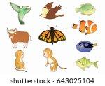 cartoon animal bird butterfly... | Shutterstock . vector #643025104