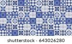 blue portuguese tiles pattern   ... | Shutterstock .eps vector #643026280