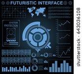 futuristic virtual graphic... | Shutterstock .eps vector #643036108