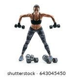 strong woman exercising with... | Shutterstock . vector #643045450