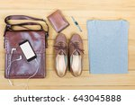 top view of woman's fashion on... | Shutterstock . vector #643045888