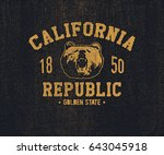 california t shirt with grizzly ... | Shutterstock .eps vector #643045918