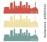 seoul skyline silhouette city... | Shutterstock .eps vector #643051414