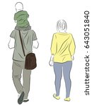 father and mother are walking... | Shutterstock .eps vector #643051840