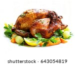 baked chicken with herbs and... | Shutterstock . vector #643054819