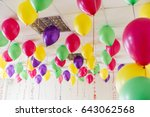 many multicolored inflatable... | Shutterstock . vector #643062568