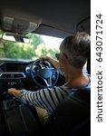 rear view of senior woman... | Shutterstock . vector #643071724