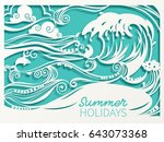 paper art carving of sea wave ...   Shutterstock .eps vector #643073368