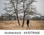 sad solitary man walking...   Shutterstock . vector #643078468