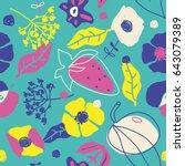 super funky summer pattern  ... | Shutterstock .eps vector #643079389