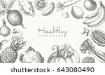 healthy food vector retro... | Shutterstock .eps vector #643080490