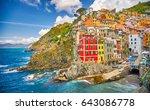 riomaggiore cinque terre italy... | Shutterstock . vector #643086778