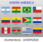 set of all flags of south... | Shutterstock .eps vector #643092820