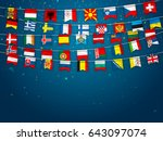 colorful flags of different... | Shutterstock .eps vector #643097074