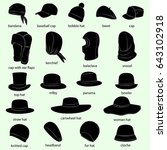 set of hats with names  men ... | Shutterstock .eps vector #643102918