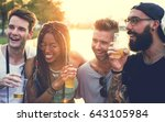 group of friends drinking beers ... | Shutterstock . vector #643105984