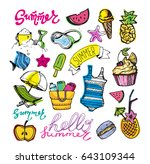 hand drawn doodle vector summer ... | Shutterstock .eps vector #643109344