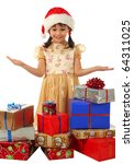 Smiling little girl with lot Christmas gift boxes - stock photo