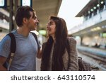 meeting a young couple at the... | Shutterstock . vector #643110574