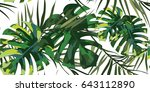 pattern with palm leaves for... | Shutterstock .eps vector #643112890