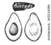 sketch ink vintage avocado cut... | Shutterstock .eps vector #643114384