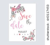 save the date with calendar in... | Shutterstock .eps vector #643117453