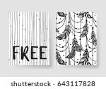 set of templates boho cards.... | Shutterstock .eps vector #643117828