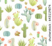 seamless pattern with cactus... | Shutterstock .eps vector #643119874