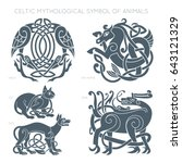 Stock vector ancient celtic mythological symbol of animals vector knot ornament 643121329
