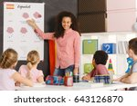 students learning spanish with...   Shutterstock . vector #643126870