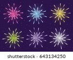 set of color fireworks for your ... | Shutterstock .eps vector #643134250