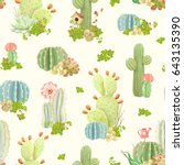 seamless nature pattern with... | Shutterstock .eps vector #643135390