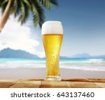 cold beer on desk and... | Shutterstock . vector #643137460