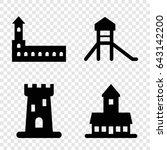 citadel icons set. set of 4... | Shutterstock .eps vector #643142200
