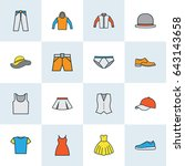 clothes colorful outline icons... | Shutterstock .eps vector #643143658