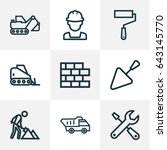 construction outline icons set. ... | Shutterstock .eps vector #643145770