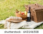 picnic basket with bottle of...   Shutterstock . vector #643146508
