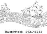 ship waves black white graphic... | Shutterstock .eps vector #643148368