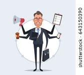 cute cartoon businessman with a ... | Shutterstock .eps vector #643150390