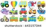 pixel transport set  vector... | Shutterstock .eps vector #643157344
