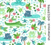 seamless pattern with cartoon... | Shutterstock .eps vector #643159996