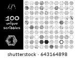 vector set 100 scribbles scrawl ... | Shutterstock .eps vector #643164898