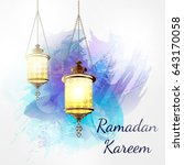ramadan kareem lantern on a...   Shutterstock . vector #643170058