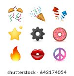 9 emoticon on white background. ... | Shutterstock .eps vector #643174054