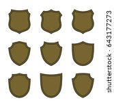 shield shape bronze icons set....