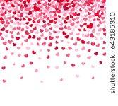 flying heart confetti ... | Shutterstock . vector #643185310