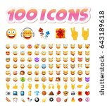 set of 100 cute icons on white... | Shutterstock .eps vector #643189618