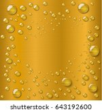 water drop  on  gold background | Shutterstock .eps vector #643192600