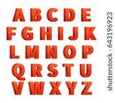 red 3d letters alphabet ... | Shutterstock . vector #643196923