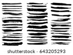 set of black paint  ink brush... | Shutterstock .eps vector #643205293